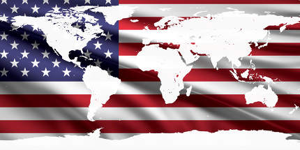 world map white silhouette over flag of America USA 3d-illustration. elements of this image furnished by NASA