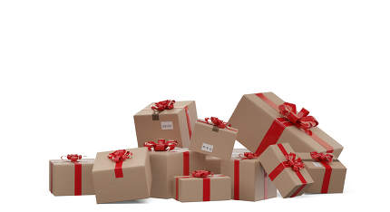 wrapped presents as delivered boxes 3d-illustration isolated on