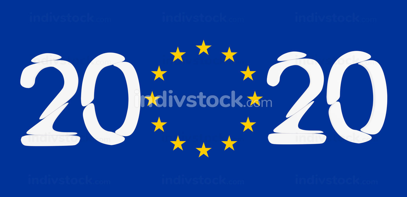 2020 bold letters in front of flag of Europe 3d-illustration