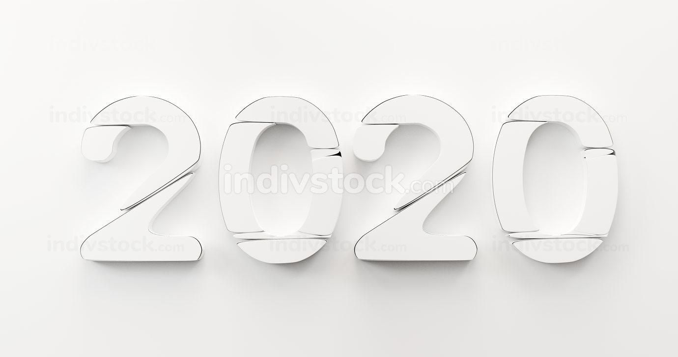 2020 creative bold letters 3d-illustration