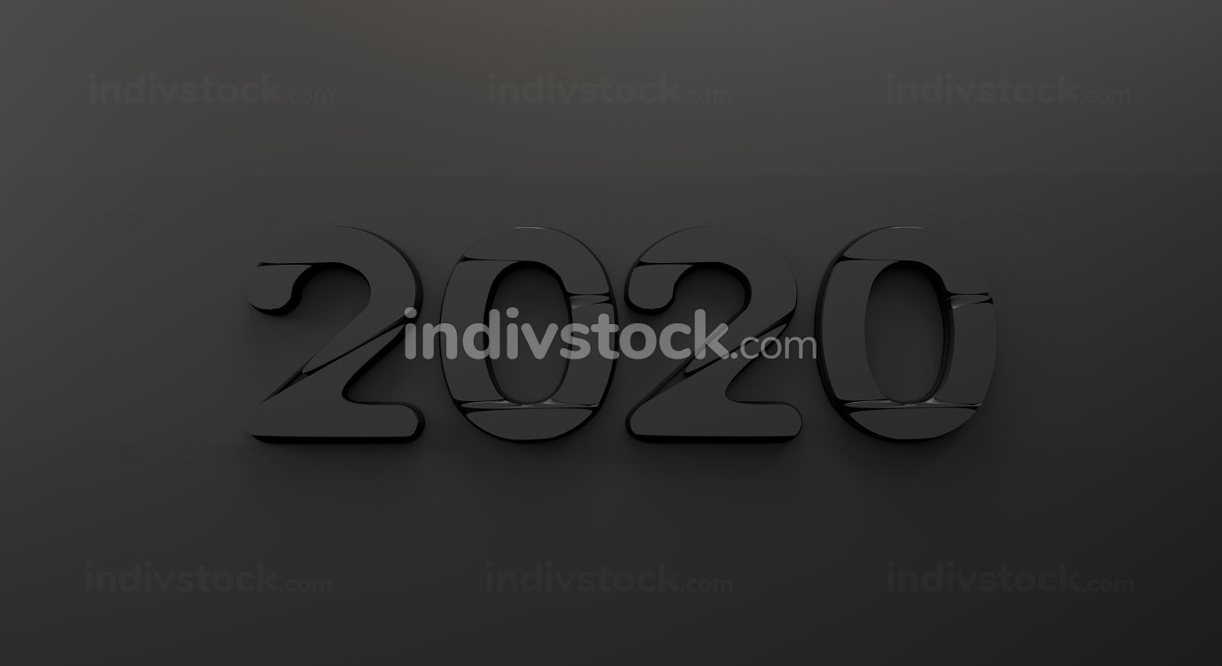 2020 dark bold letters 3d-illustration