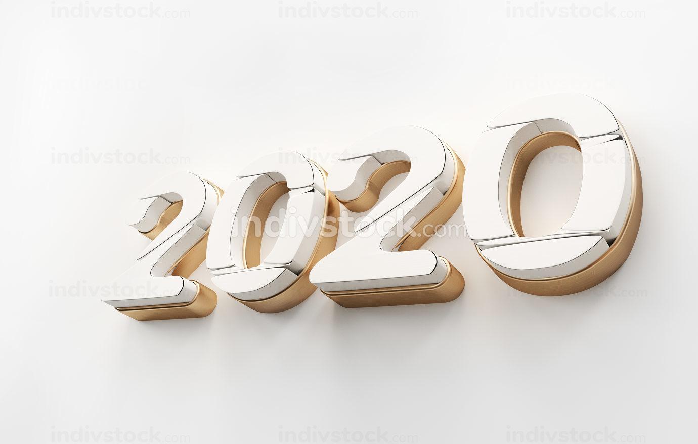 2020 golden white bold letters 3d-illustration