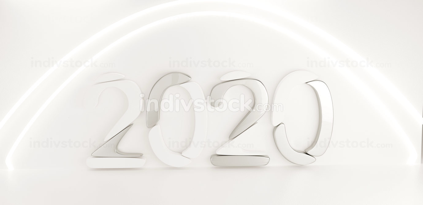 2020 white metallic silver steel creative background 3d-illustra