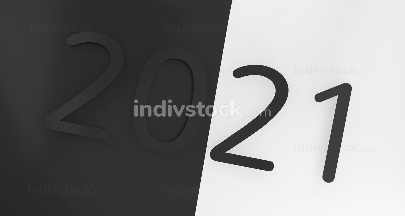 2021 bold letters dark creative design 3d-illustration
