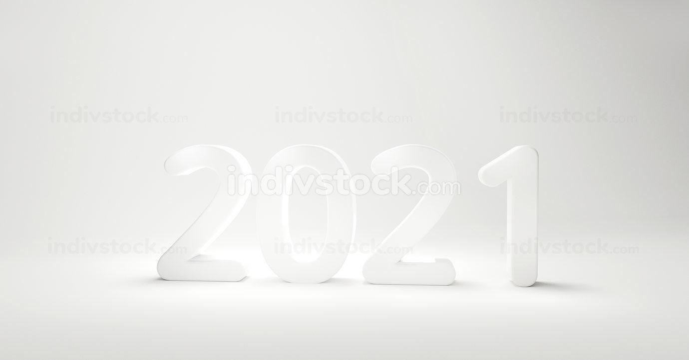 2021 bold letters white design 3d-illustration