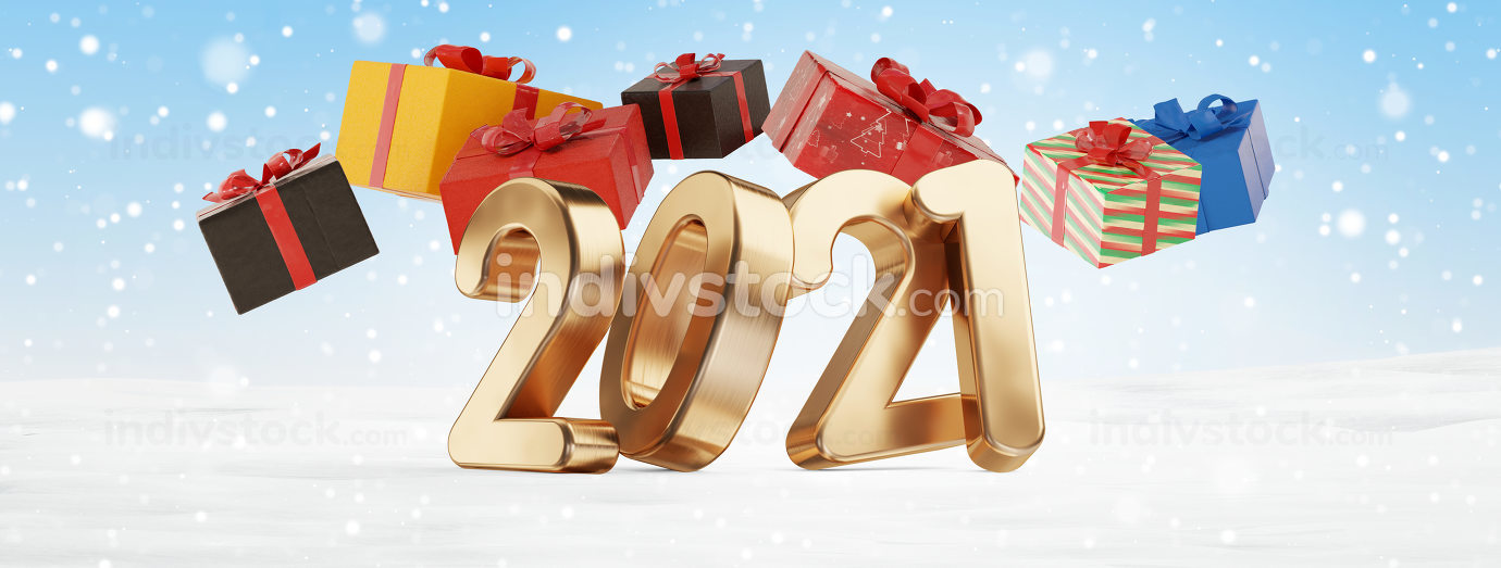 2021 Christmas presents 3d-illustration festive design