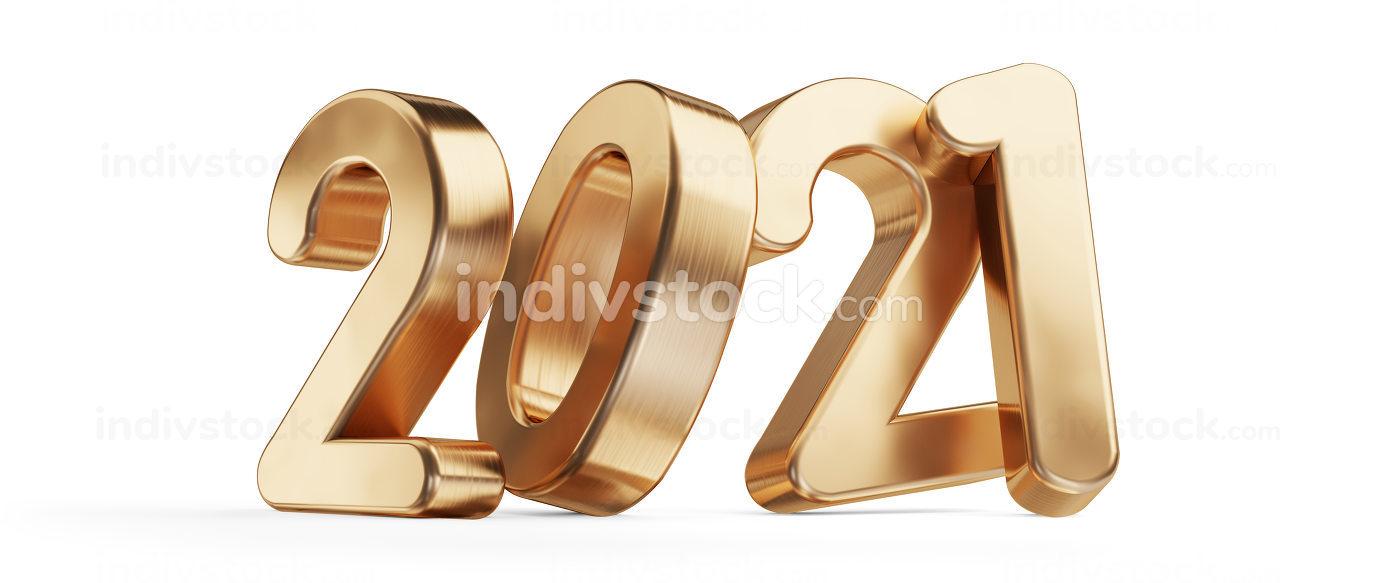 2021 golden bold letters 3d-illustration