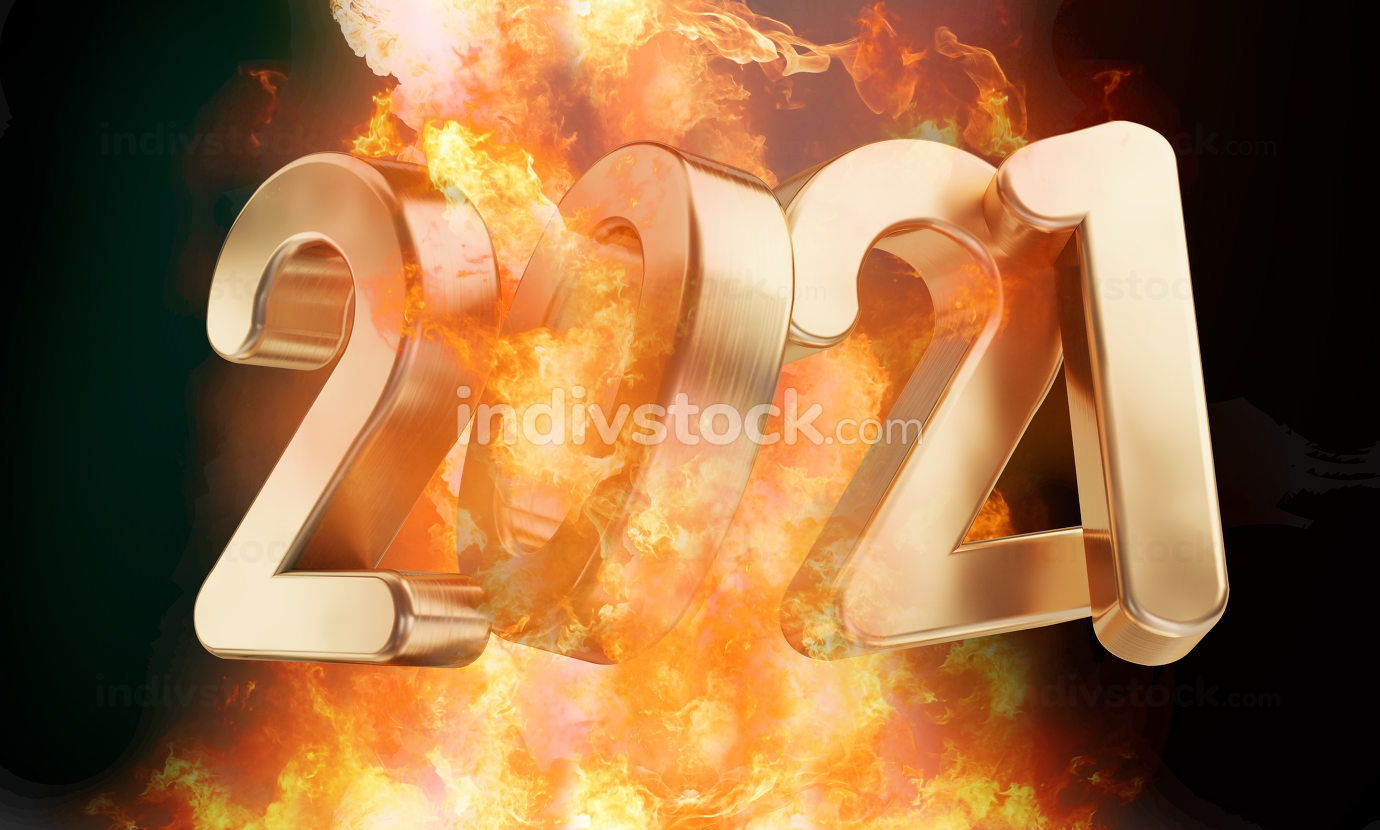 2021 golden fire and flames 3d-illustration