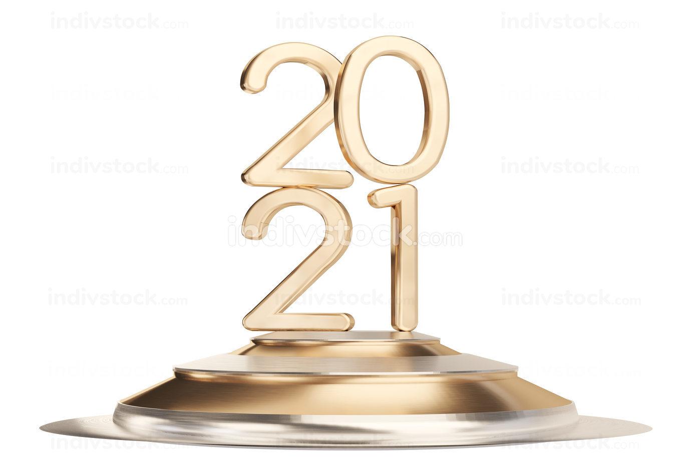 2021 golden symbol thin letters 3d-illustration