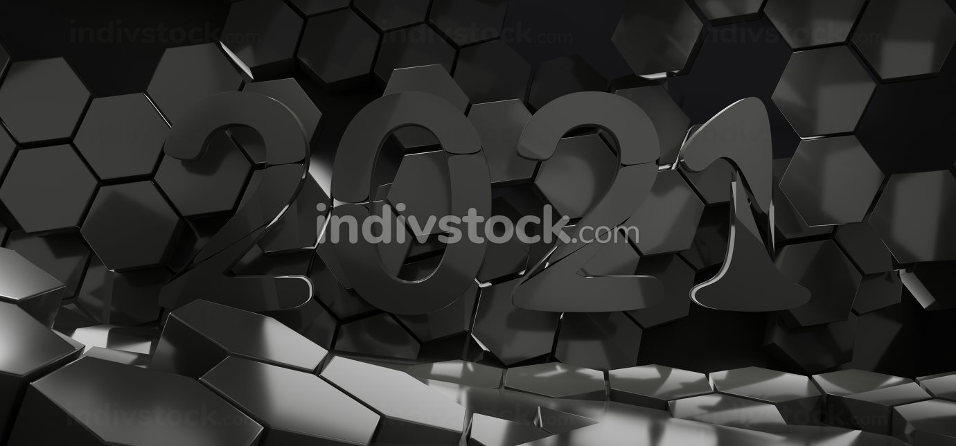 2021 hexagon creative dark design background 3d-illustration