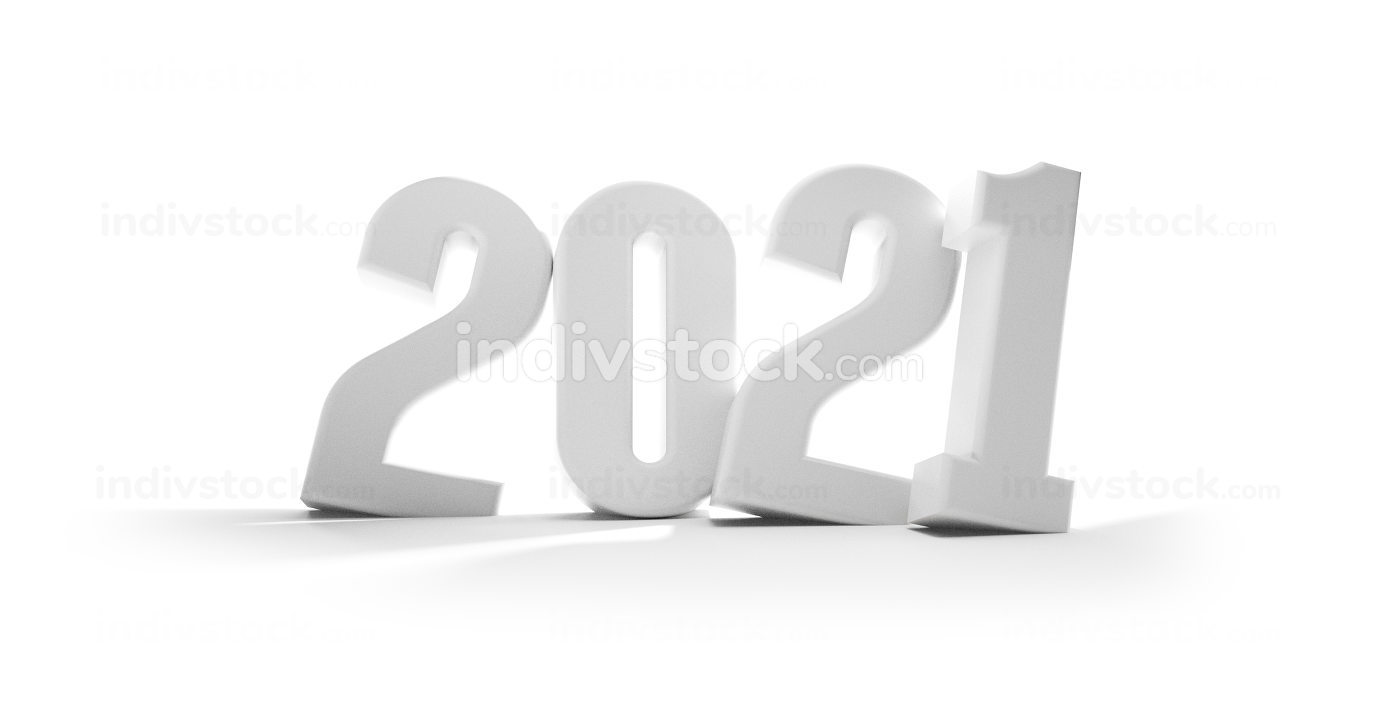 2021 white bold letters isolated 3d-illustration