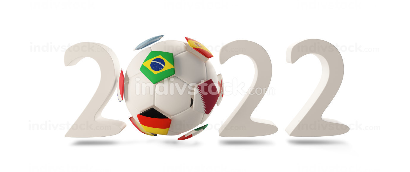 2022 creative bold letters ball design. Qatar Germany Brazil Spain 3d-illustration