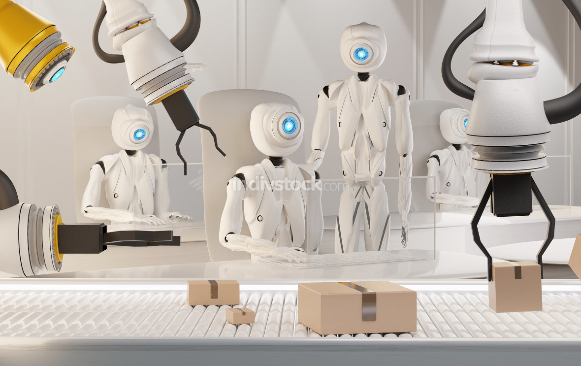 3d rendering humanoid robots working and parcels on conveyor bel