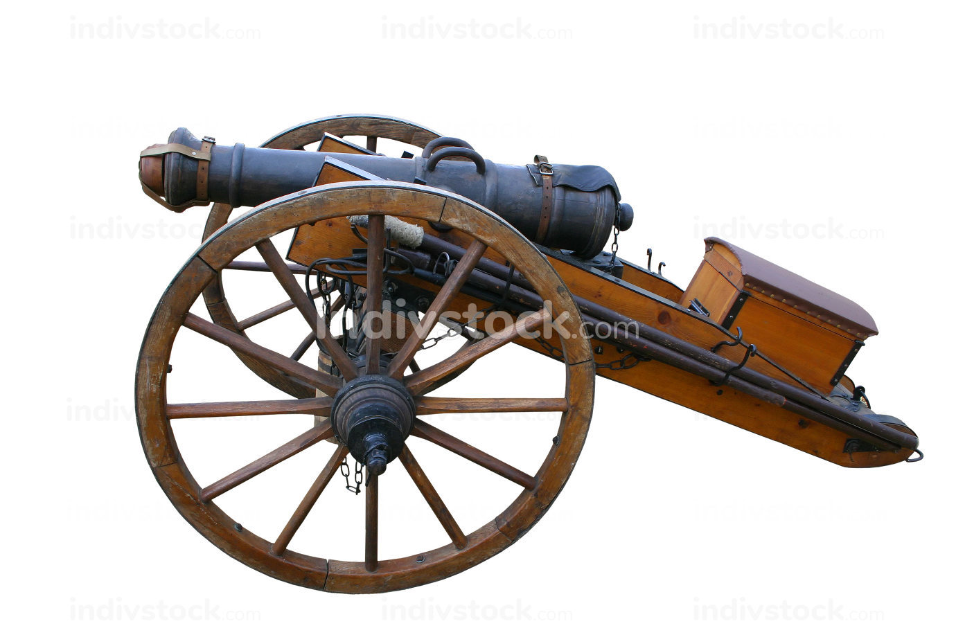 Ancient cannon isolated on white background.
