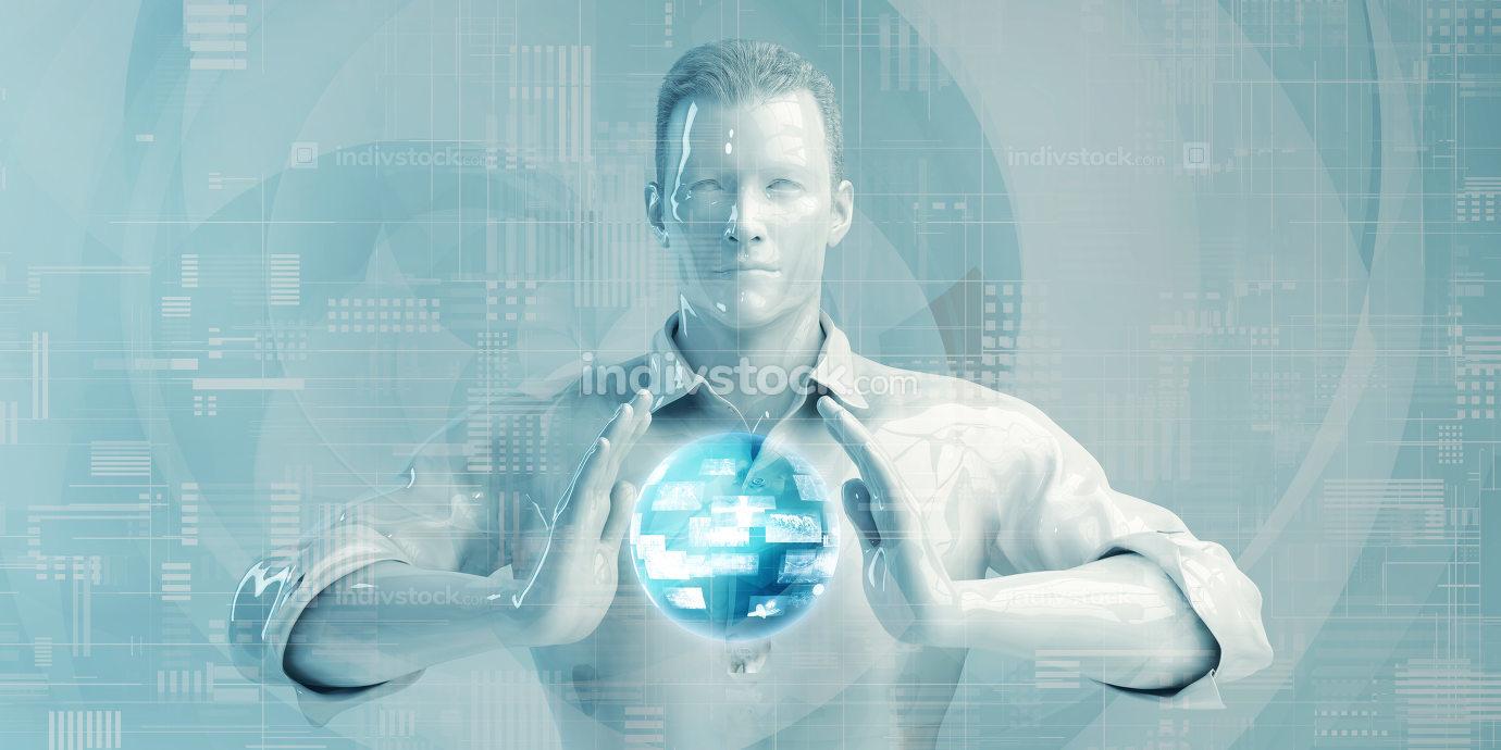 Asian Business Man Using Digital Solutions