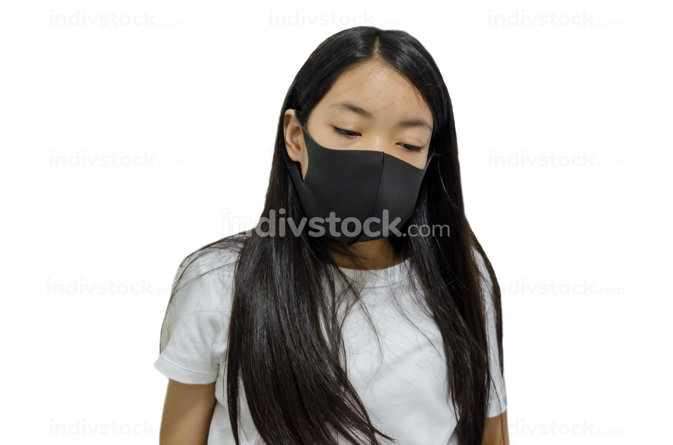 Asian girl is ill with a virus.