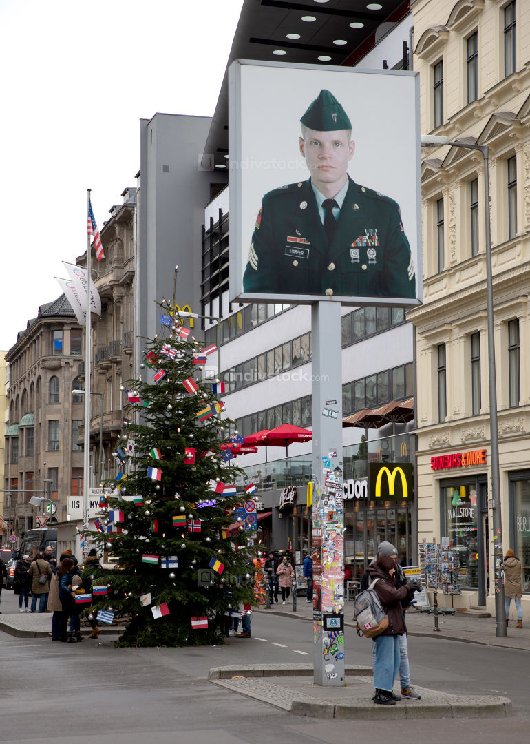 Berlin, Germany - December 20, 2019: People visit famous Checkpo