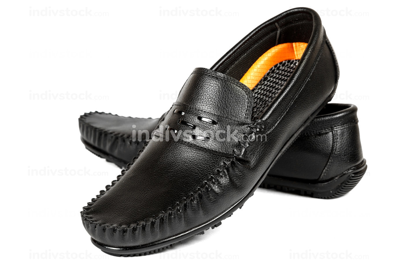 black leather shoes on a white isolated background