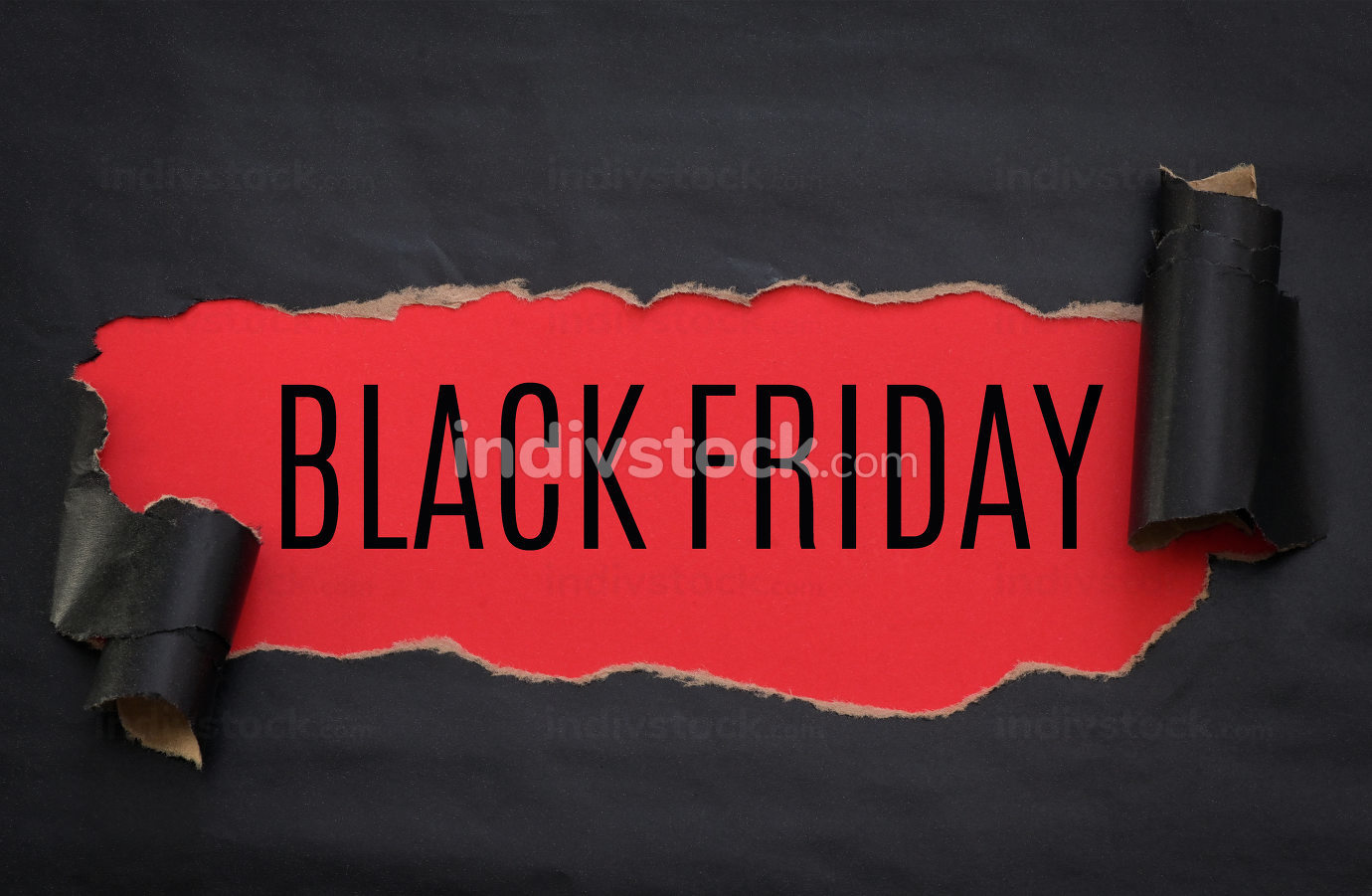Black torn paper and text black friday