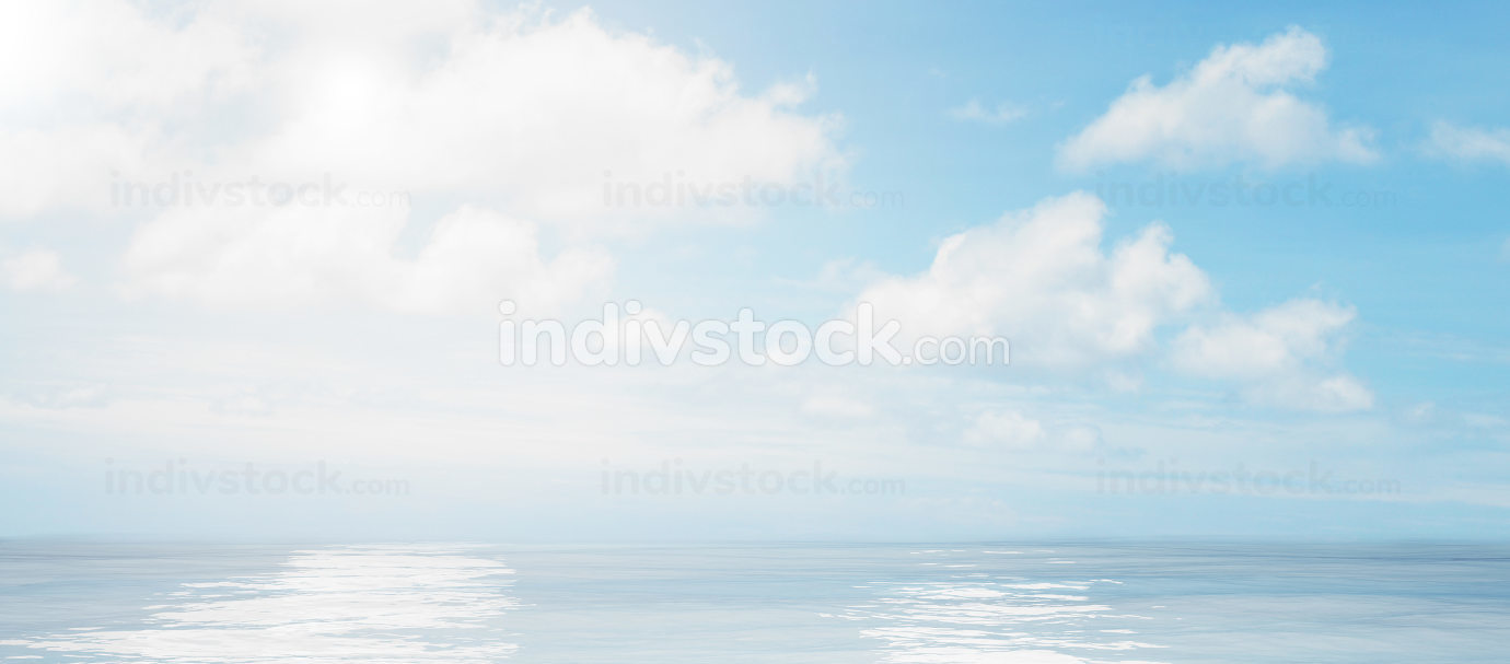 blue sky white clouds ocean background photo