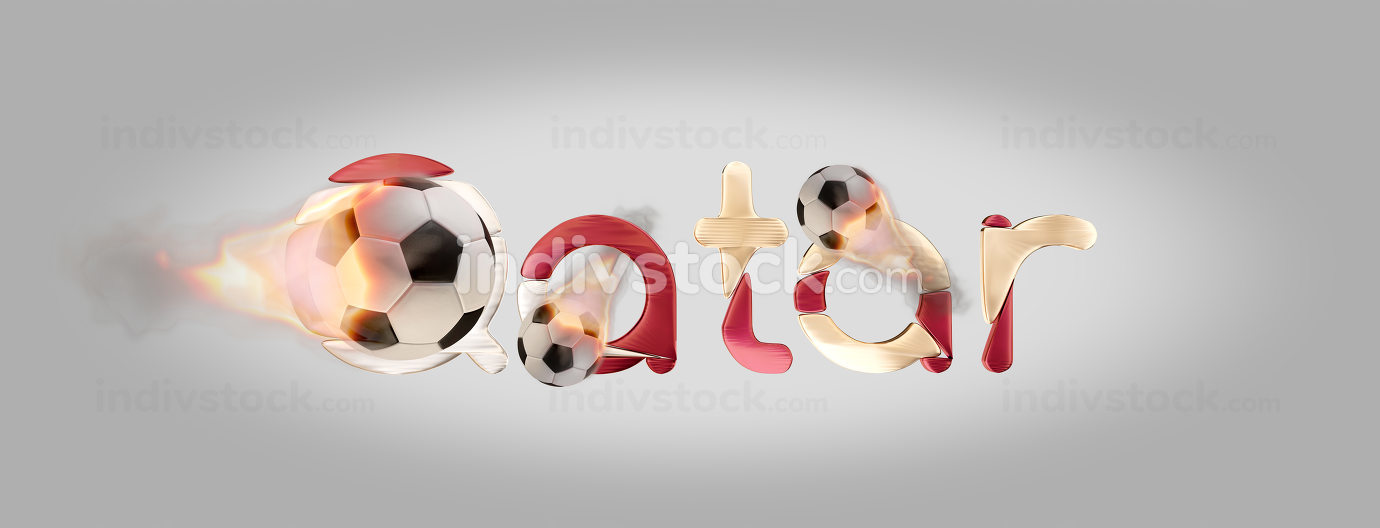 bold letters Qatar with creative fire soccer ball 3d-illustration