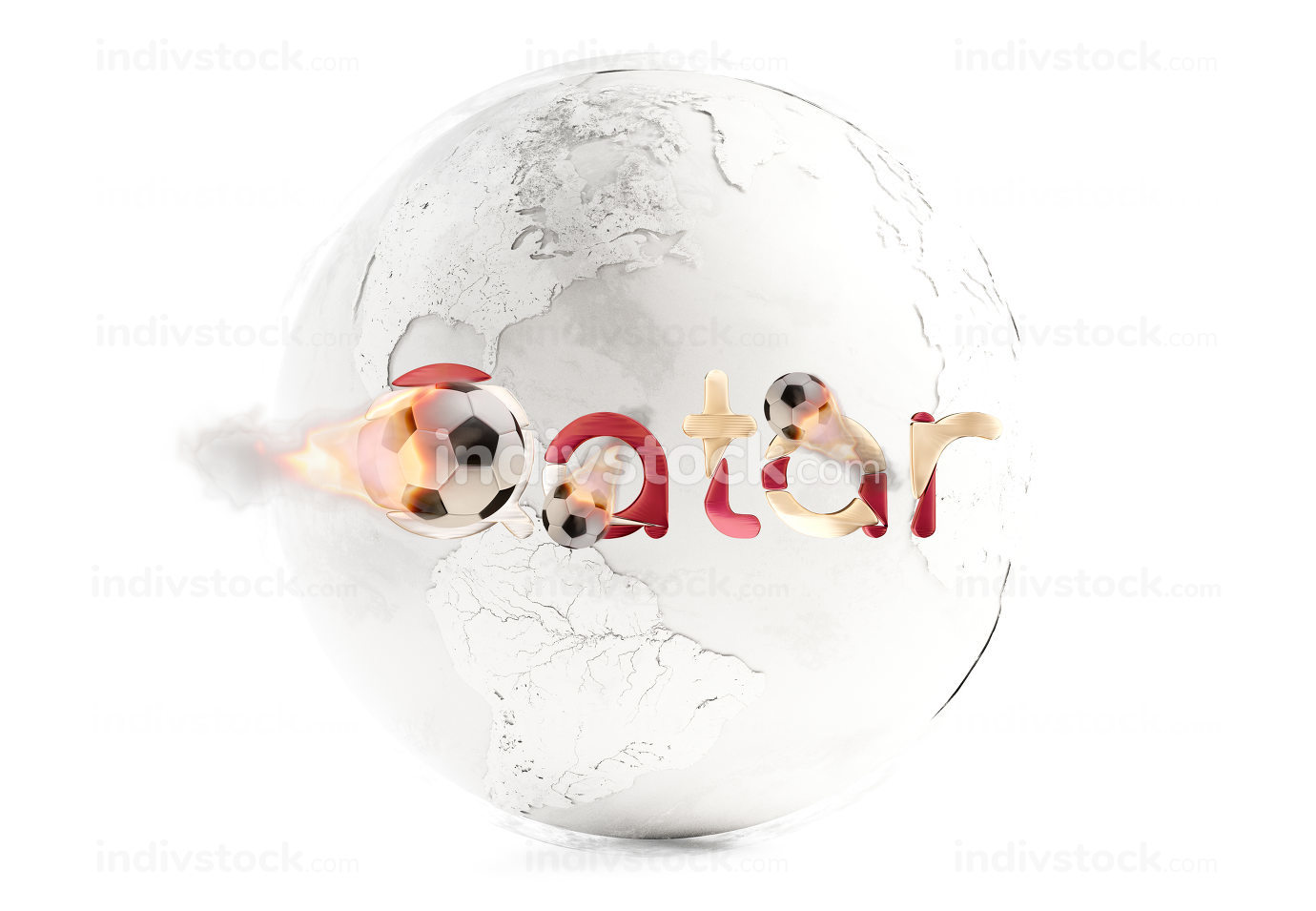 bold letters Qatar with creative fire soccer ball 3d-illustration. elements of this image furnished by NASA