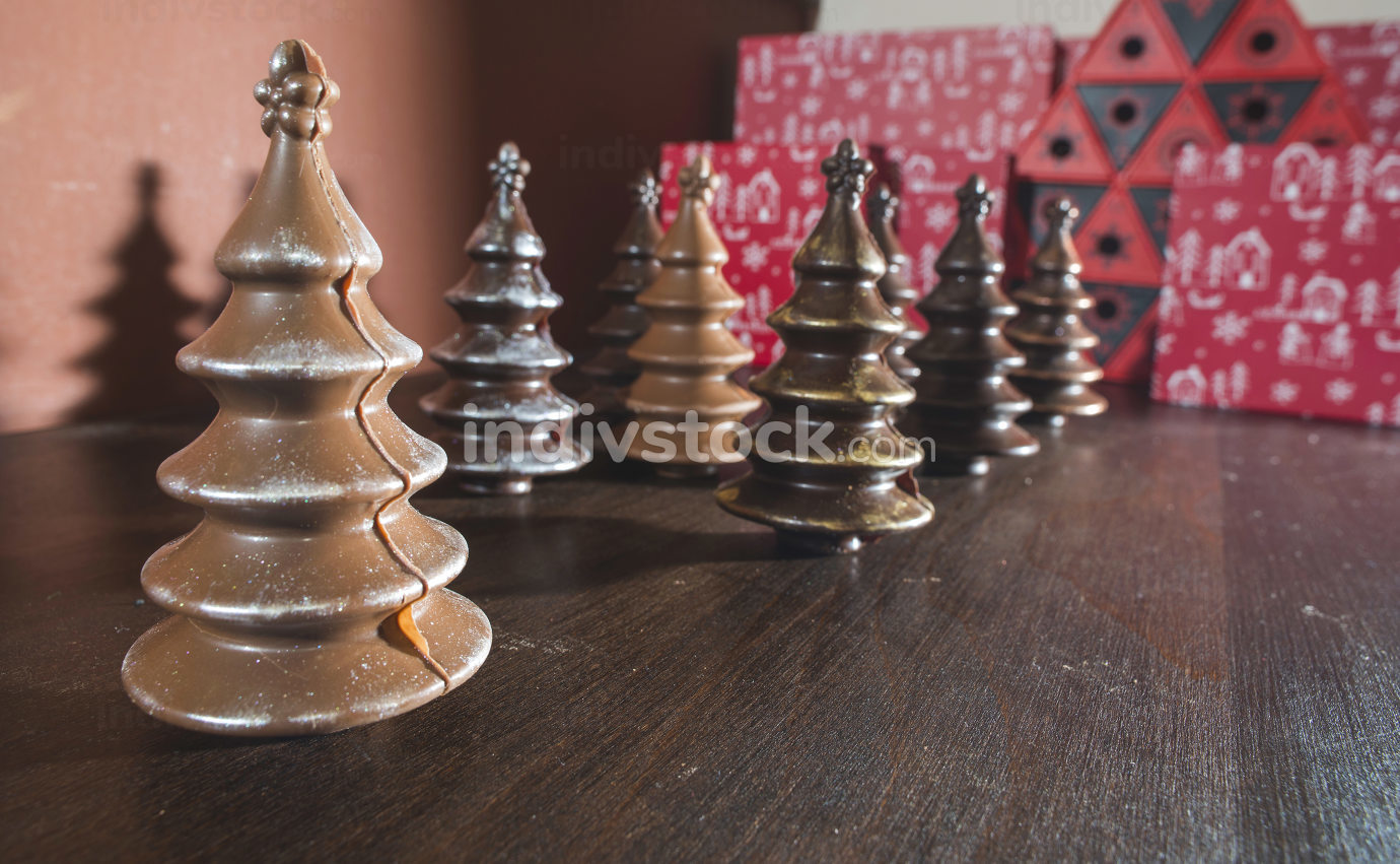 Chocolate Christmas Trees. Brown chocolate. Bulgaria