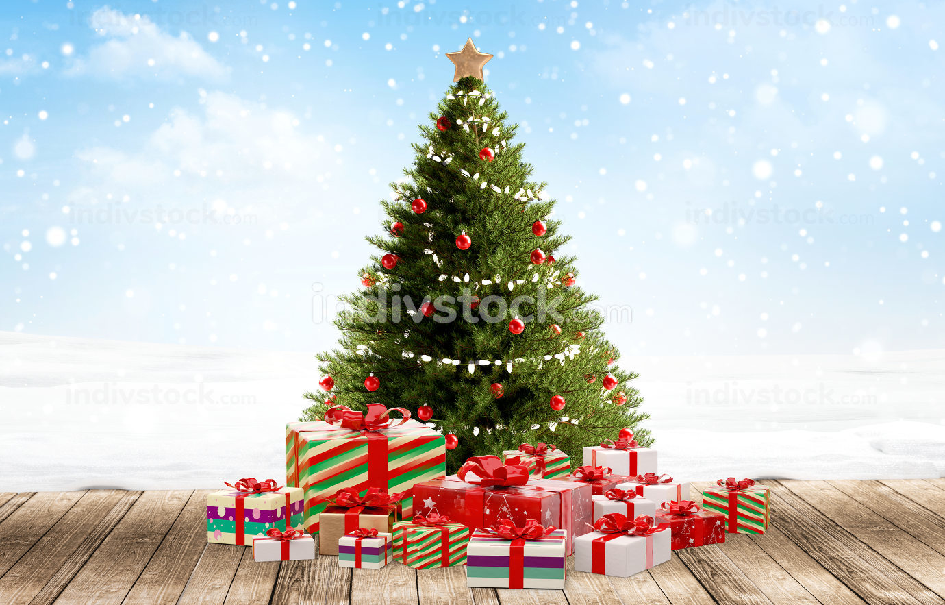 Christmas gifts festive packages 3d-illustration