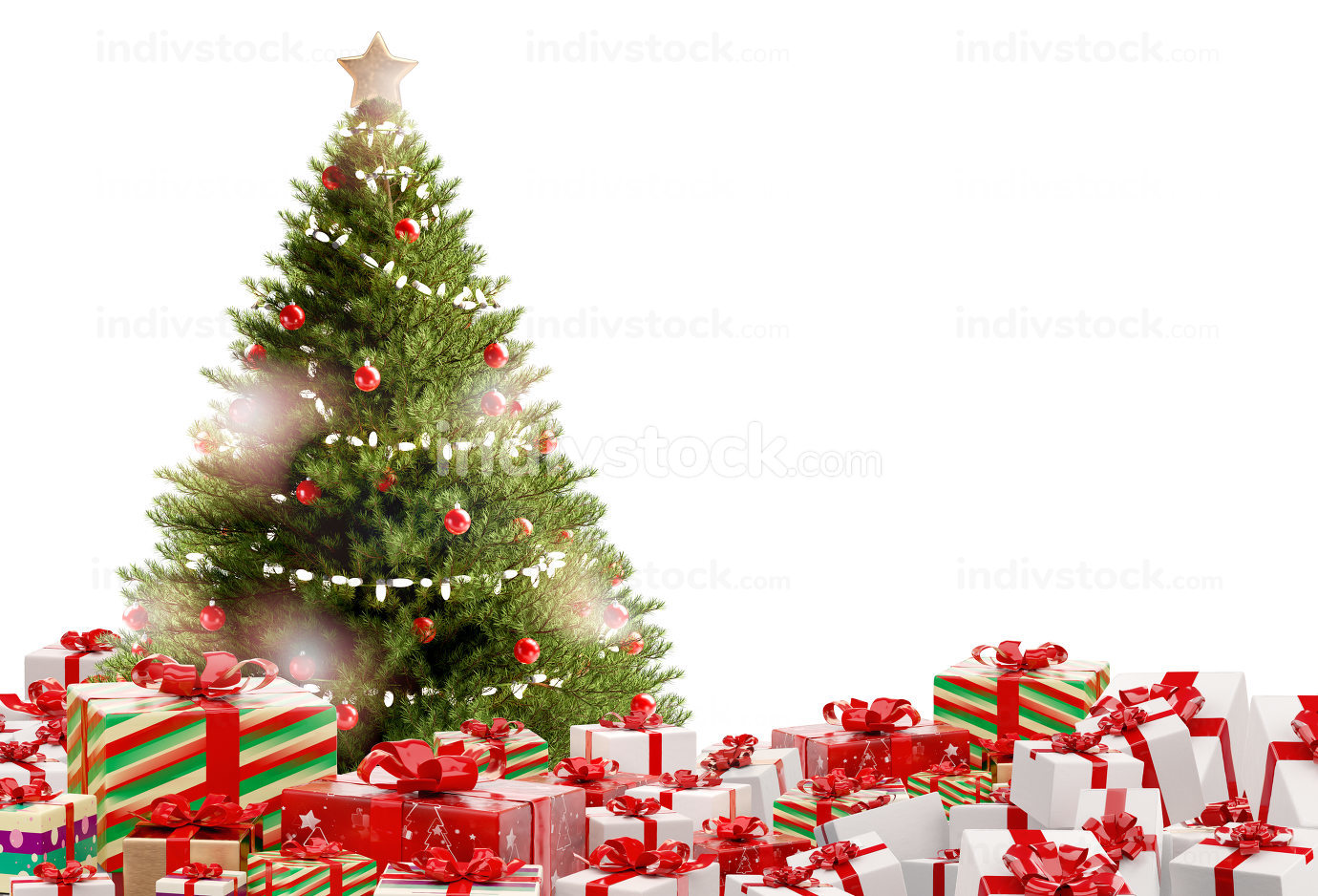 Christmas gifts festive presents design 3d-illustration