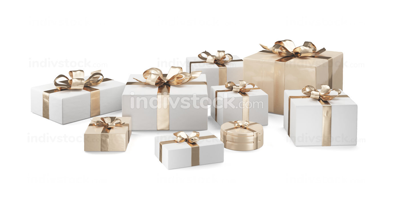 Christmas gifts. white golden presents design 3d-illustration
