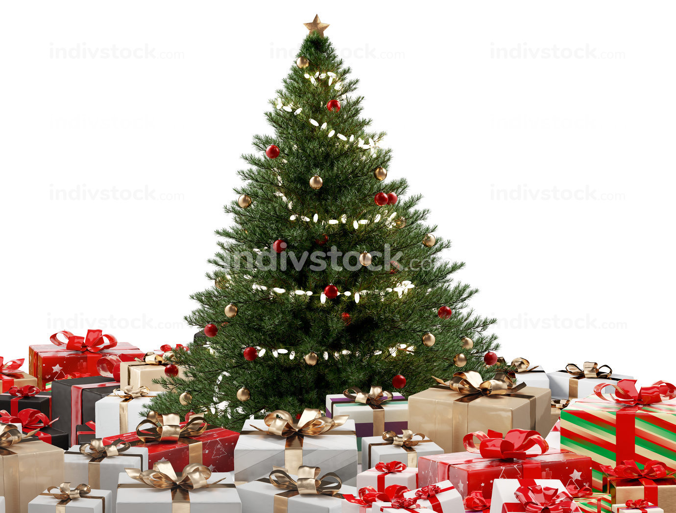Christmas gifts. white golden red and black presents design 3d-i
