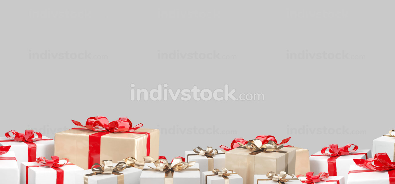 Christmas gifts. white golden red presents design 3d-illustratio