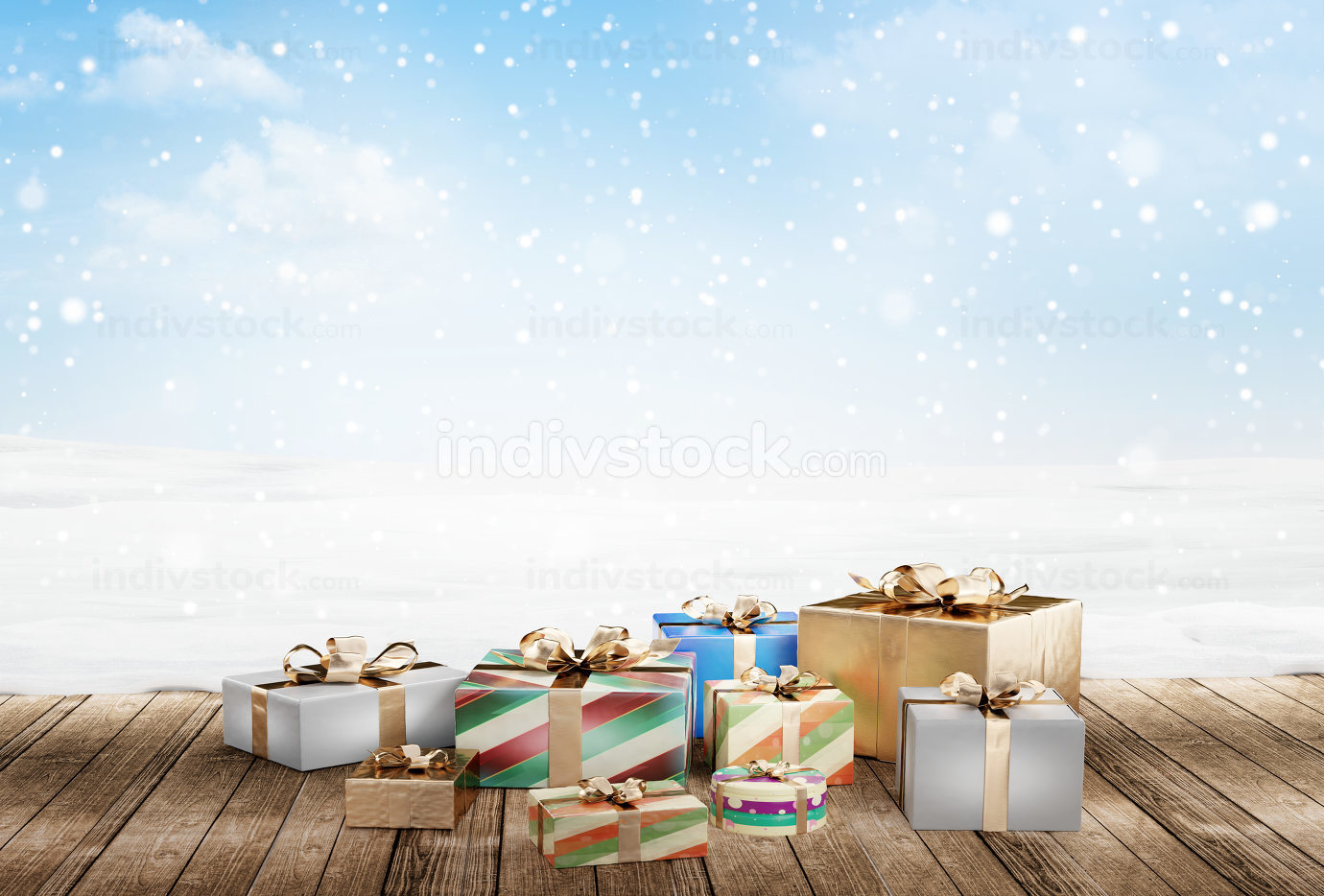 Christmas presents 3d-illustration festive christmas gifts