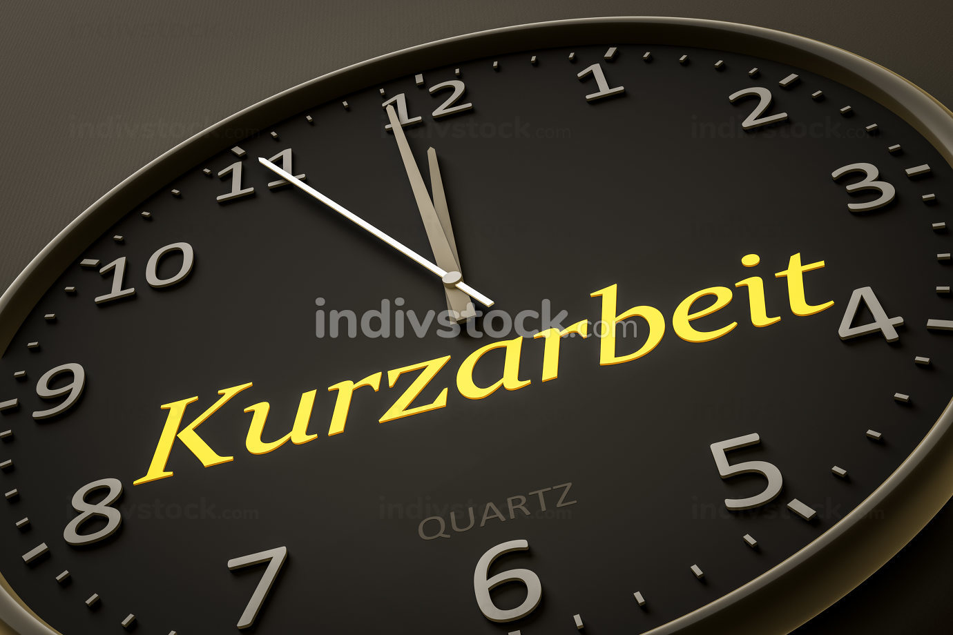 clock with text short-time work in german language