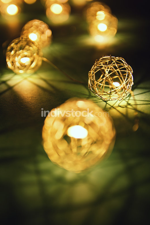 Close up of festive lights making cozy romantic atmosphere