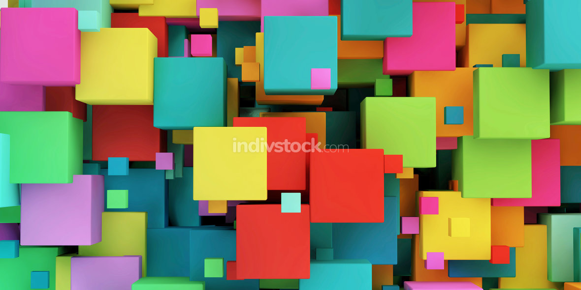 Colored Cubes Colorful Background