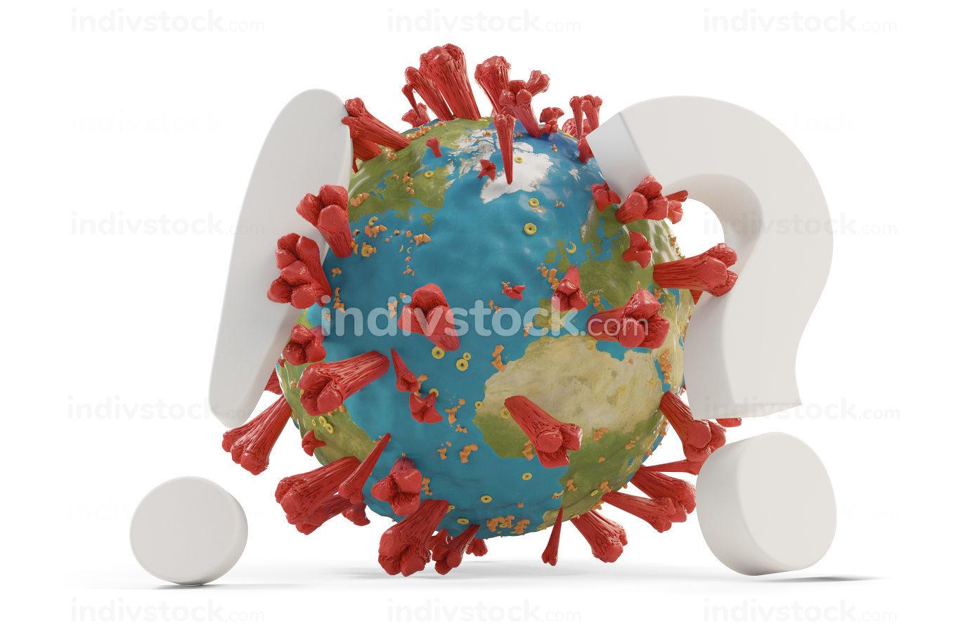 Coronavirus exclamation mark and question mark. symbolic virus c
