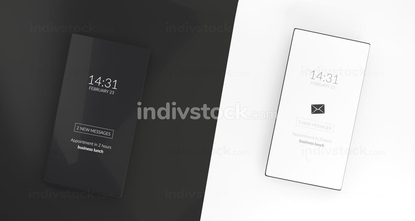 dark mode and standard light mode on mobile phone 3d-illustratio
