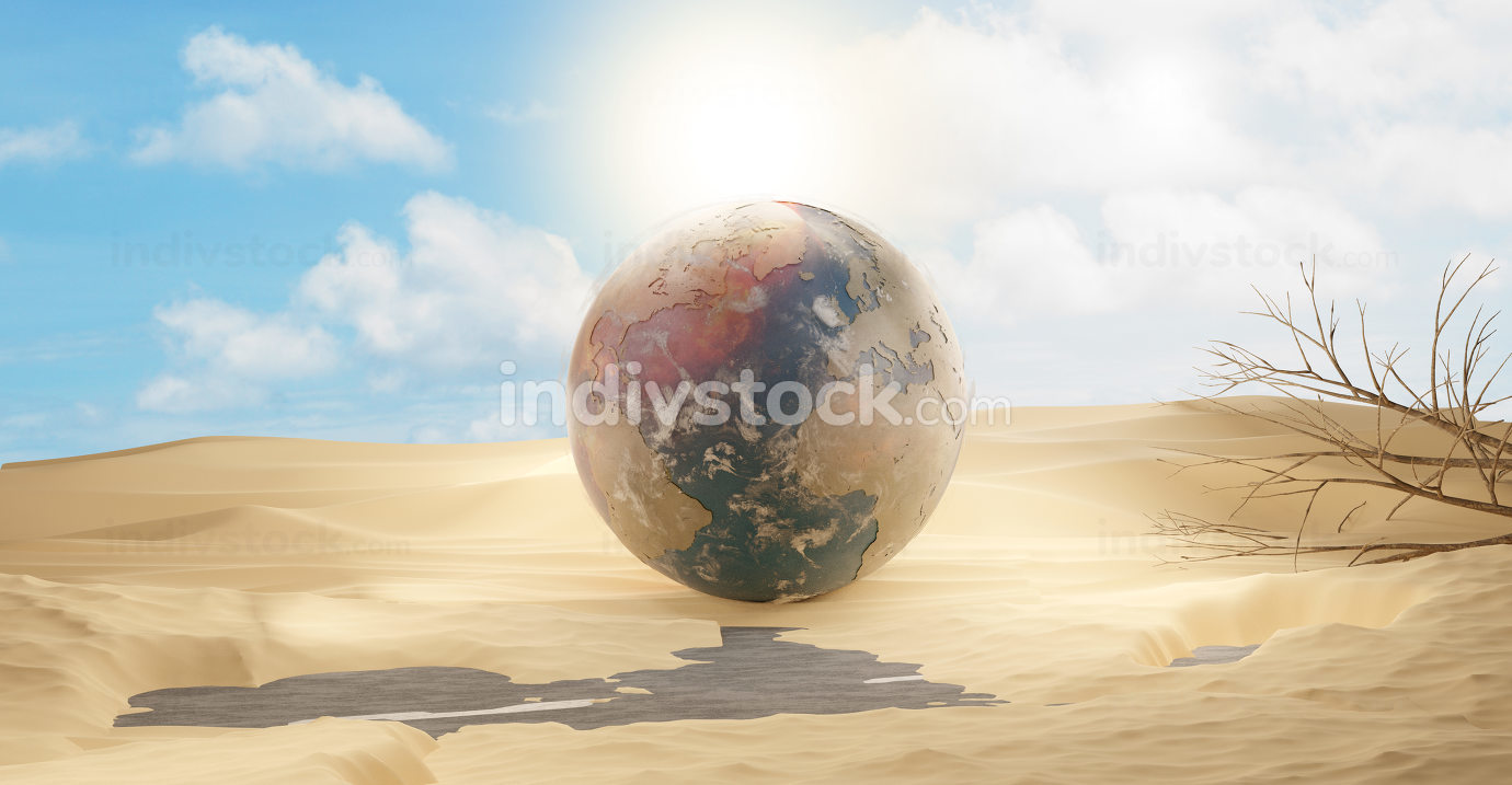 desert and planet earth 3d-illustration sand design. elements of this image furnished by NASA