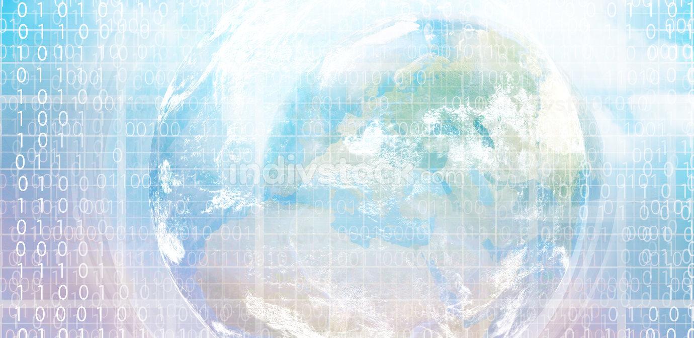 digital world wide design with globe earth and binary code eleme