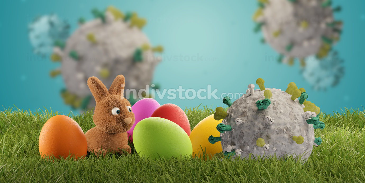 easter bunny Corona Virus COVID-19 3d-illustration