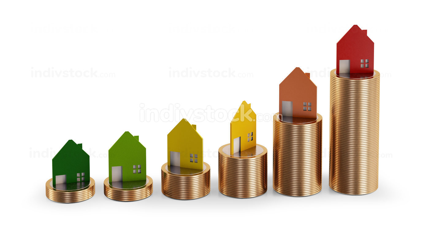 Euro coins, stacks of coins with houses 3d-illustration