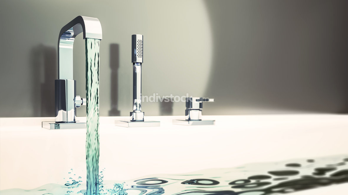 filling a bathtub with water 3d illustration