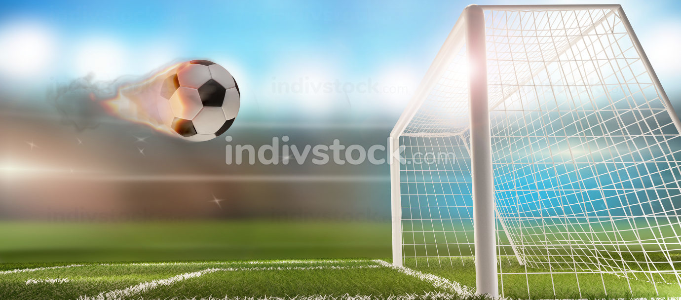 fire flames soccer football ball with soccer gfire flames soccer football ball with soccer goal 3d-illustrationoal 3d-illustratio