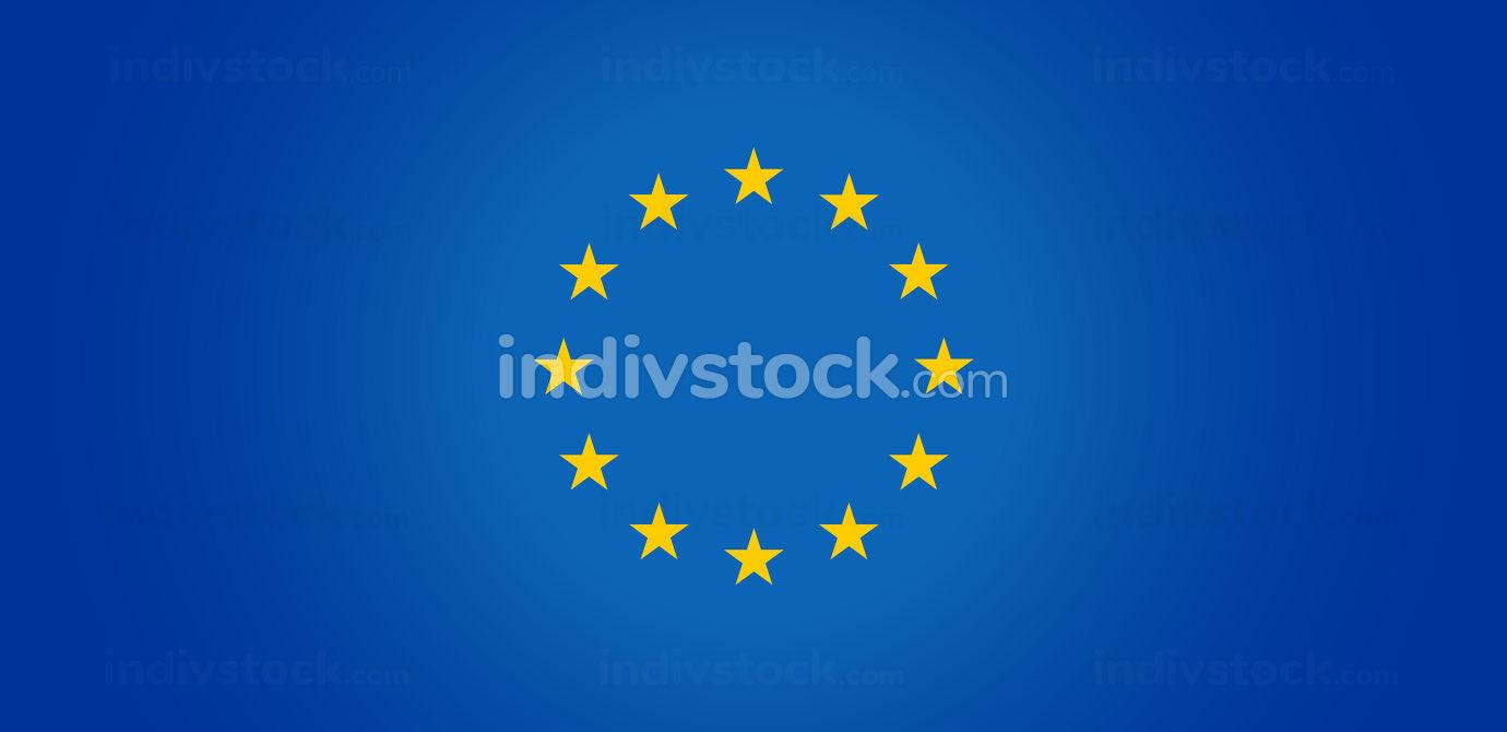flag of europe and creative light blue center 3d-illustration