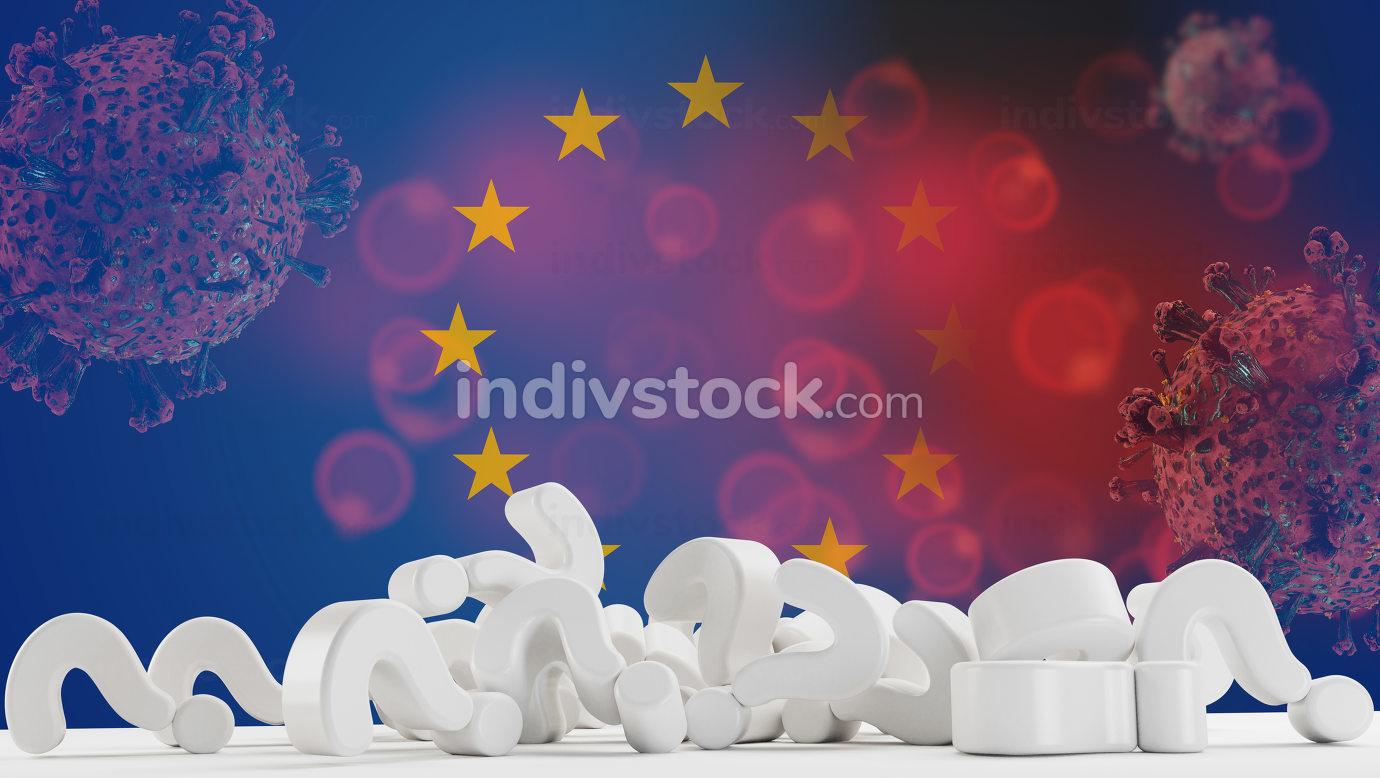 Flag of Europe Coronavirus COVID-19 Virus cell. Corona Virus detail symbolic. 3d-illustration