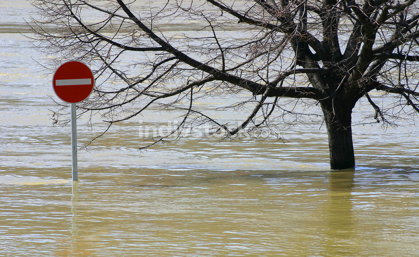 Flooding is off limits sign.