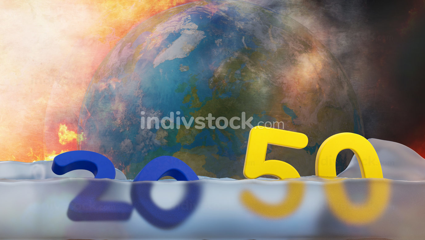 free download: 2050 too late, melted ice and sea level rise. planet earth under water 3d-illustration. elements of this image furnished by NASA
