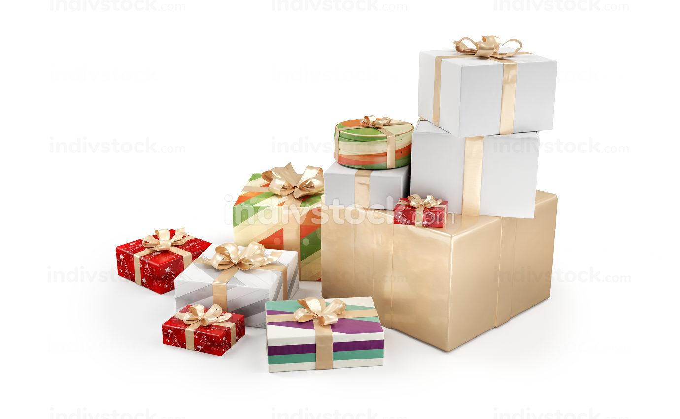 free download: Christmas gifts. festive presents design 3d-illustration