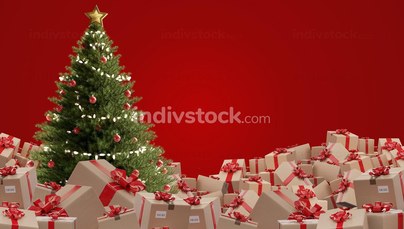 free download: festive presents postal parcel shipment 3d-illustration